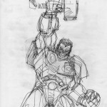 Indestructible Hulk holding Thor's hammer by Walt Simonson