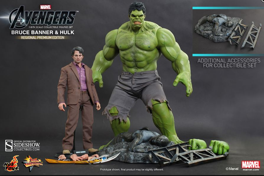 Hot Toys Incredible Hulk And Bruce Banner Action Figure Set The